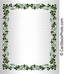 Illustration for St Patricks Day Card, Irish wedding invitation, background, border or frame with shamrocks and ribbons on white satin-look template with copy space