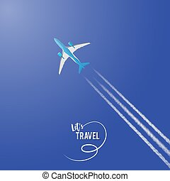 Airplane on a background of blue sky.