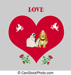 Illustration for valentine's day, Dog and cat (thoroughbred), inside the heart with angels, cartoon on light gray background