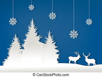 Illustration, forest, deer and snow on a blue background..eps