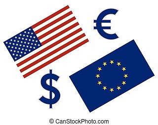illustration., forex, 通貨, 旗, ドル, eurusd, eu, アメリカ人, シンボル。, 対, ユーロ