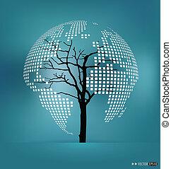 illustration., formé, map., arbre, vecteur, mondiale