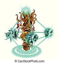 illustration., forma, szobor, varázslatos, elszigetelt, háttér., vektor, betűk, arc, fehér, alkotások, tengeri, tenger, képzelt