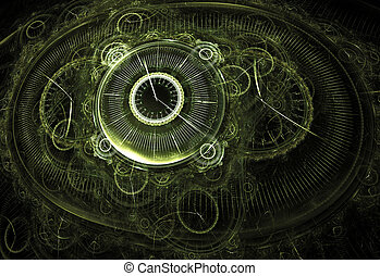 Illustration fractal background clocks and devices on a...