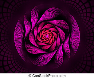 illustration fractal spiral in red flower interesting