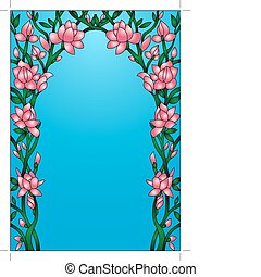 frame background with flowering flower - illustration frame ...