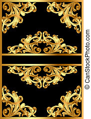 background with gold pattern on black - illustration frame...