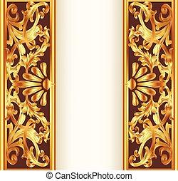 illustration frame background with gold vegetable pattern