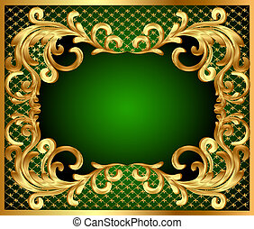 frame background with gold vegetable pattern