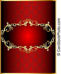 frame background with gold(en) winding pattern and heart