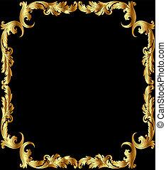 illustration frame from gild with pattern on black background