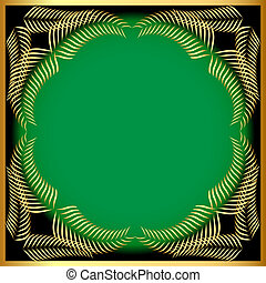 frame from gold ear on background green