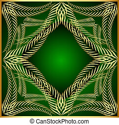 frame from gold ear on green background