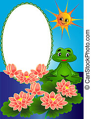 frame lily and frog on turn blue