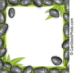 Frame Made Stones and Bamboo, Spa Background, Copy Space for Your Text