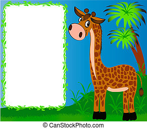 frame nursery nice giraffe on background of the palms - ...