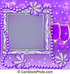 frame with a glass flower and beads - illustration frame ...