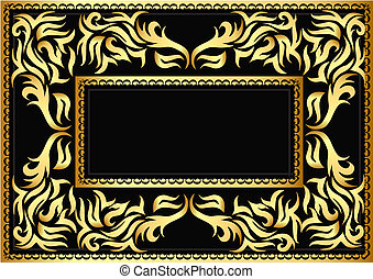 frame with bright pattern on black