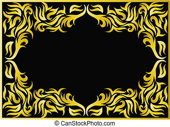 frame with bright pattern on black background
