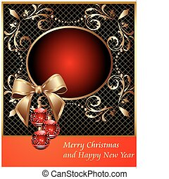 frame with decorative ball on Christmas and bow