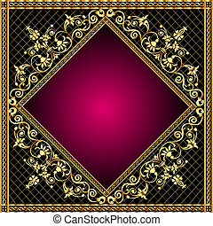 frame with gold pattern and revenge for text