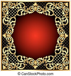 illustration frame  with gold  pattern