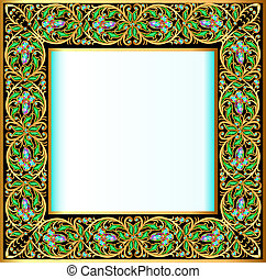 frame with jewels and geometric designs in gold