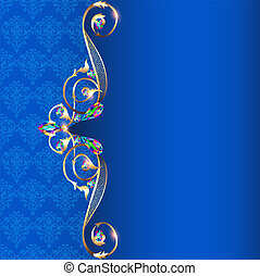 illustration frame with jewels and geometric designs in gold