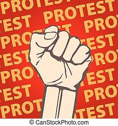 illustration., frihed, knug, hold, protest, vektor, næve