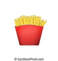 illustration, frites pomme terre, francais, nourriture., vecteur, jeûne, bucket., rouges