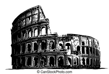 illustration fro italy colosseum building landmark vector