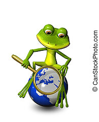 frog on a globe with a magnifying glass - illustration frog...