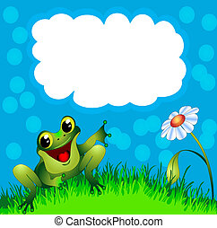 frog sits in herb and flower and points to message