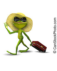 Frog with a Suitcase in a Hat - Illustration Frog with a...