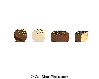 illustration from a set of different pralines