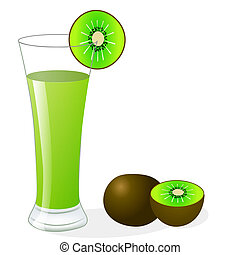 fruit kiwi and glass of juice