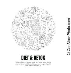 illustration., fruits., sain, cercle, contours, vecteur