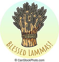 illustration., frumento, covone, benedetto, lammas., vettore