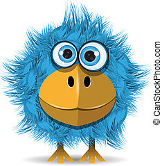 funny blue bird - illustration, funny blue bird with big ...