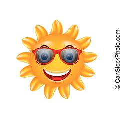 Funny Face of Summer Sun with Sunglasses