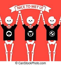 illustration funny human skeletons