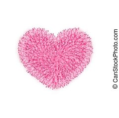 fur pink heart for Valentines Day isolated on white background