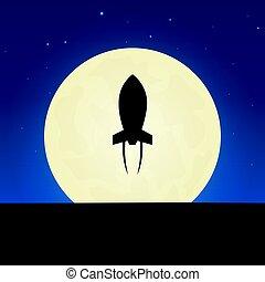illustration., fusée, lune, arrière-plan., vecteur, nuit, silhouette., bannière