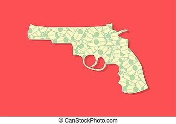 illustration, fusil, concept, revolver, argent, dollar, business, monnaie, vecteur, plat, finance, menace, conception