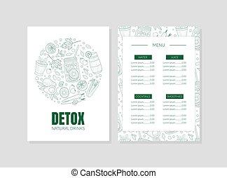 illustration., gabarit, fruits, menu, vegetables., contours, vecteur, régime