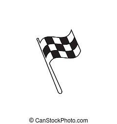 illustration., gagnant, auto, commencer, chequered, noir, checkered, concurrence, ligne, voiture, icon., courses, finir, drapeau, flagstaff., victoire, moto, sport, rassemblement, signe., racing., blanc