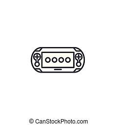 illustration., gamepad, signe, concept., symbole, vecteur, ligne, icône, linéaire