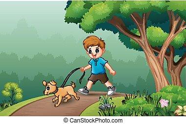 illustration, garçon, chien, sien, jeune, marche
