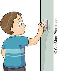 illustration, garçon, fermé, virage, gosse, commutateur
