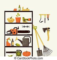 illustration, garde-manger, outils, jardinage